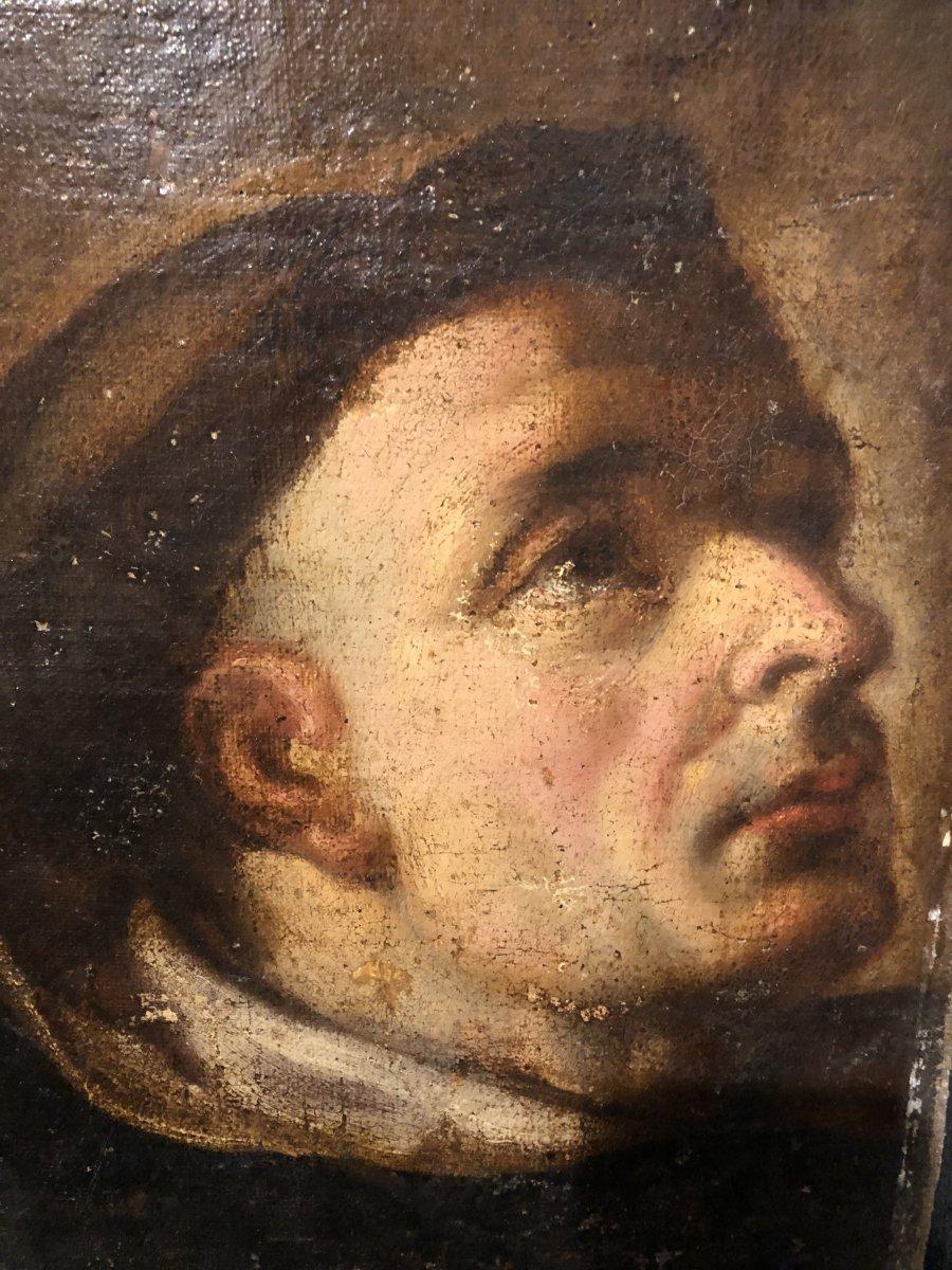 Oil On Canvas Mounted The Saint Monk