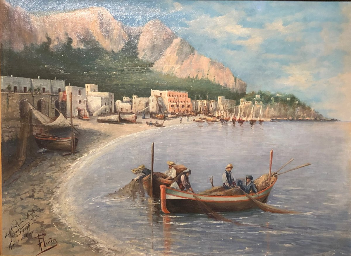 A. Pinto - Capri Bay - Oil On Canvas