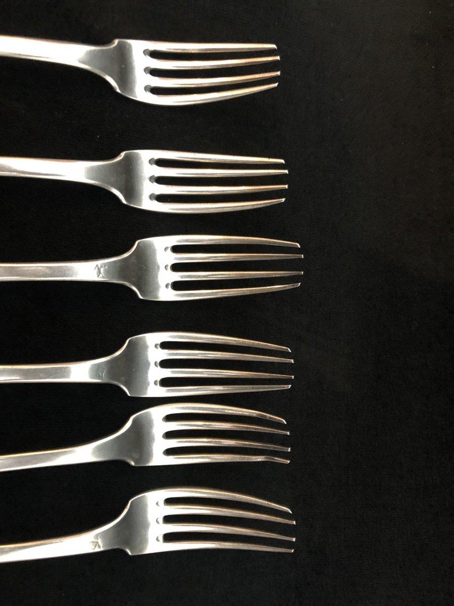 Six  Couverts En Argent - 2e Coq Et Vieillard-photo-3