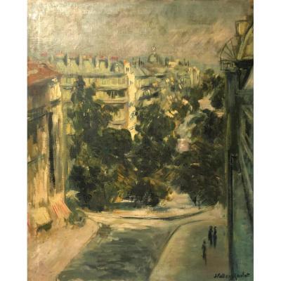 """J. VALLERY-RADOT, huile sur toile """" La place de Mexico """", XX"""