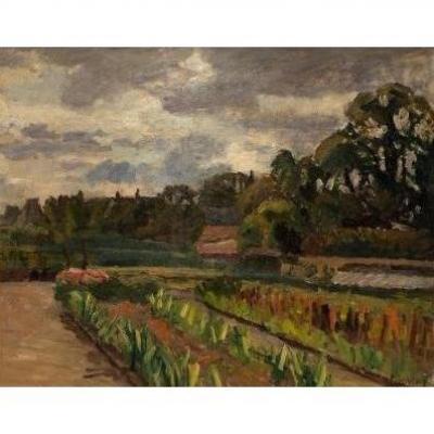 """A. LAUVRAY, huile sur toile, """"Le Jardin du peintre """", XXème"""