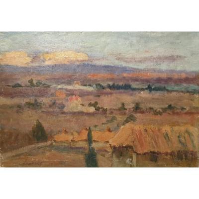 """A. LAUVRAY, huile sur toile, """"Campagne avignonnaise"""", XXème"""