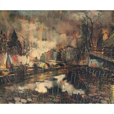 """O. FOSS, huile sur toile, """"Les rives de Seine à Paris"""", XXèm"""