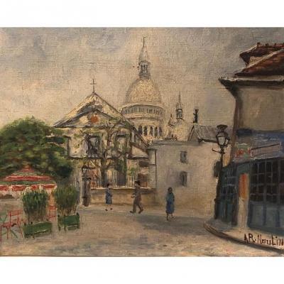 """V. ARNOULIN, huile sur toile, """" Montmartre """", XXème."""
