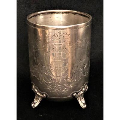 Timbale en argent,  armoriée, XVIIIème
