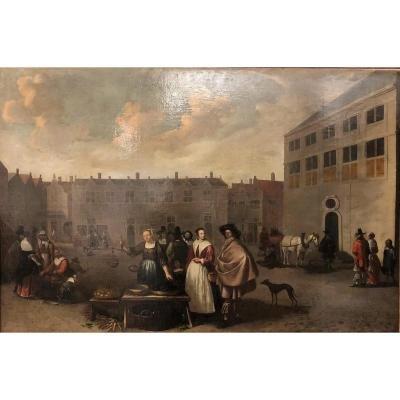 """Huile sur toile """"La Grand'place """", Ecole flamande, XVIIème - ID: 301387"""