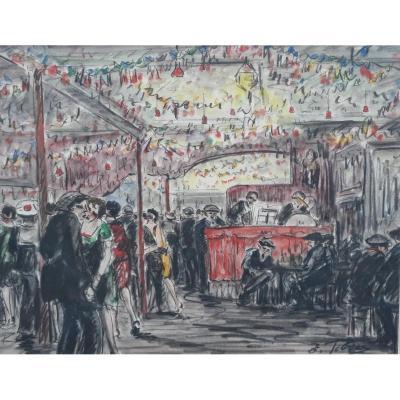 """""""Scène De Guinguette"""" - E. Febvres, aquarelle"""