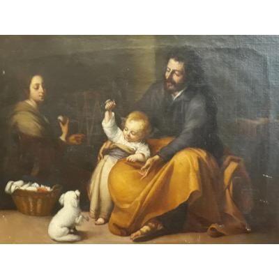 D'après Murillo - Sainte Famille - Huile Sur Toile