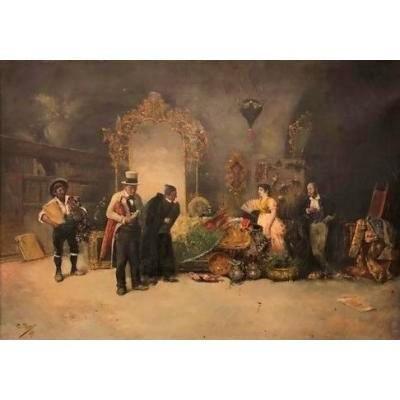 C. Piza, Atelier d'Antiquaire, 1890, Huile Sur Toile,