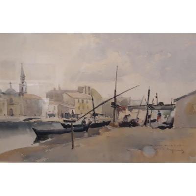 C. Raymond - Aquarelle - Le Vieux Port De Marseille - XIXe Siècle