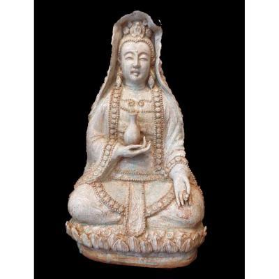 Bouddha Guanyin Déesse De La Miséricorde, Grès émaillé, Chine, XXème Siècle