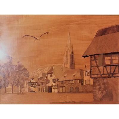 """A. SCHAUER, Marqueterie """"Village au Clocher"""", Keiserberg, Alsace"""