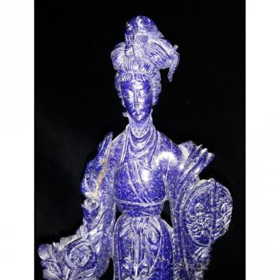 Déesse Du Printemps - Sculpture En Lapis Lasuli - Asie