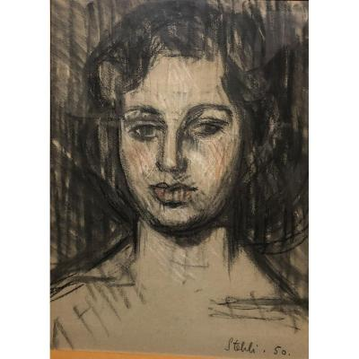 Stehli - Portrait Of Woman - Drawing