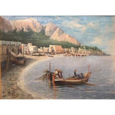 A. Pinto - Capri Bay - Oil On Canvas