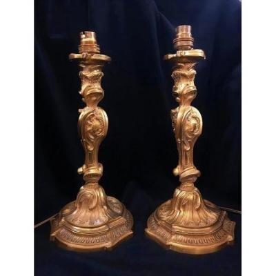 Paire De Bougeoirs En Bronze Doré Transformée En Lampes, XXe