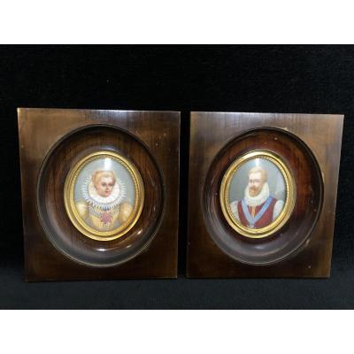 Pair Of Miniatures - Henri IV And Marie De Medici