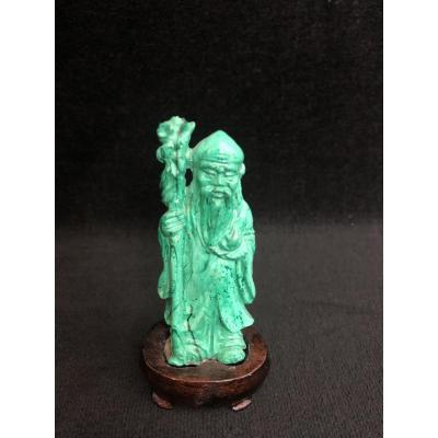 Statuette Vieillard - Pierre Dure Verte - Asie