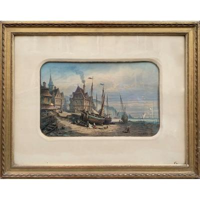 Watercolor - Boats At Low Sea - Signed Belaife