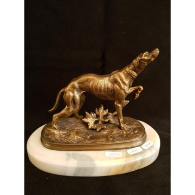 Greyhound In Bronze On Its White Marble Base Signed Lecourtier