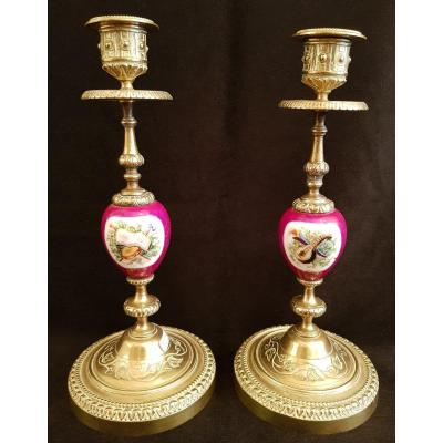 Pair Of Candlesticks In Gilt Bronze And Earthenware