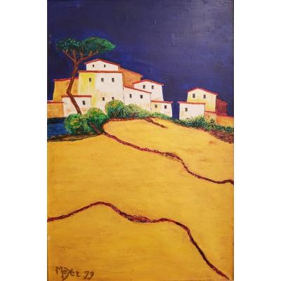 Beautiful painting representing a village at the top of a hill. The colors are very bright and catch the eye. Signed MEYER 99 Good condition. Visible at the gallery at 41 rue des Acacias, Paris 17.