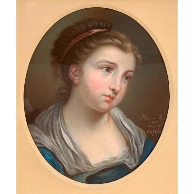 Portrait De Jeune Fille - d'Après Jean-baptiste Greuze - XIXe