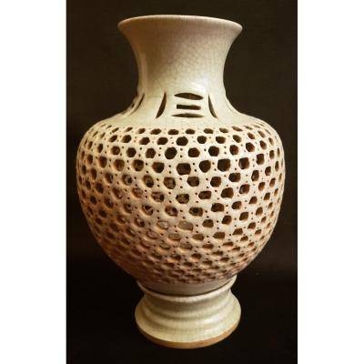 Celadon Green Openwork And Crackle Ceramic Vase - China