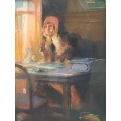 Louis Fortuney (1875-1951) - Femme Assise - Pastel