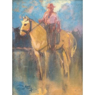 Louis Fortuney (1875-1951) - Man In Camargue - Pastel