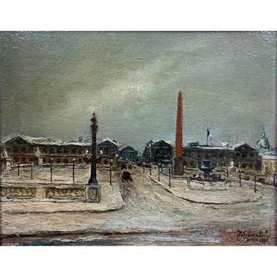Oil On Wood - Place De La Concorde, Winter 1945, Paris - Georges Guido Filiberti