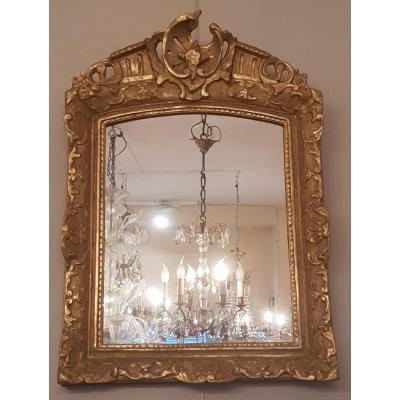 Miroir Epoque Régence (xviiième Siècle) En Bois Doré