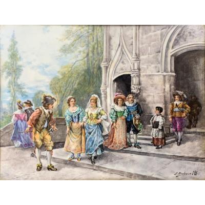 Plaque De Porcelaine Peinte Par L. Dubois - d\'Après La Sortie De l\'église De Detti