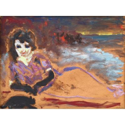 Femme En Bord De Mer - Huile Sur Bois - Il Tartaro - 1972