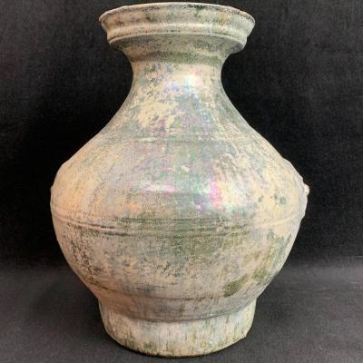 Vase Hu En Terre Cuite Rouge émaillée Vert Irisé - Époque Han (206 av. JC - 220 ap. JC)