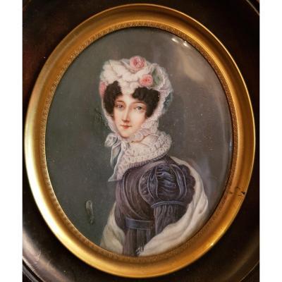 Miniature De Femme Du XIXème Siècle Sur Ivoire - signé PG Marillier 1837