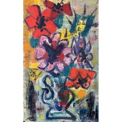 Oil On Panel - Flowers - Gen Paul (1895-1975)