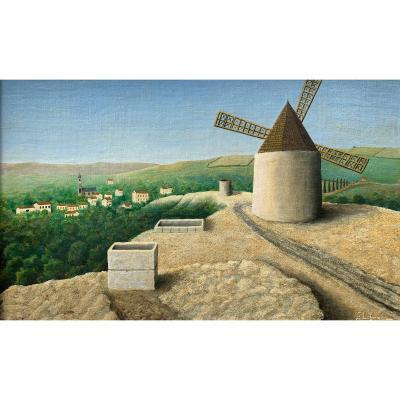 Huile Sur Toile - Le Moulins d'Alphonse Daudet - Jules Lefranc (1887-1972)