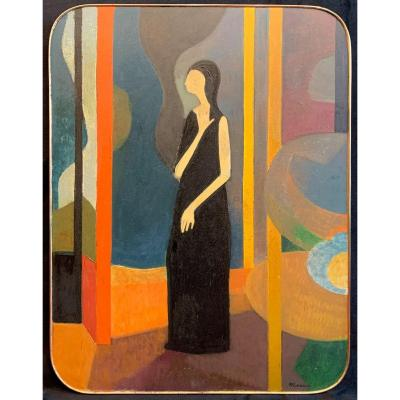 Oil On Panel - Woman In An Interior - André Minaux (1923-1986)