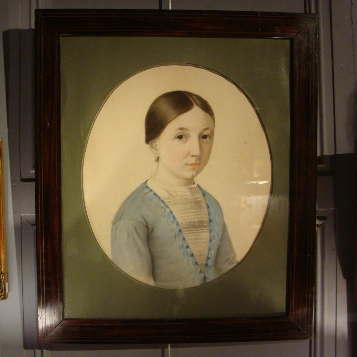 Portrait d'Une Jeune Fille, Pastel XIXème