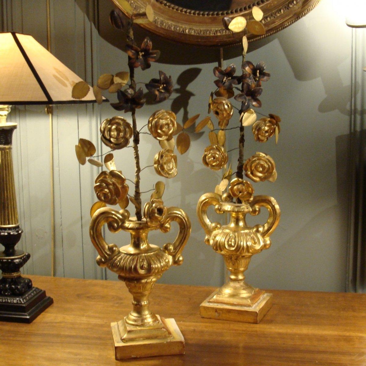 Pair Of Gilt Wood Vases