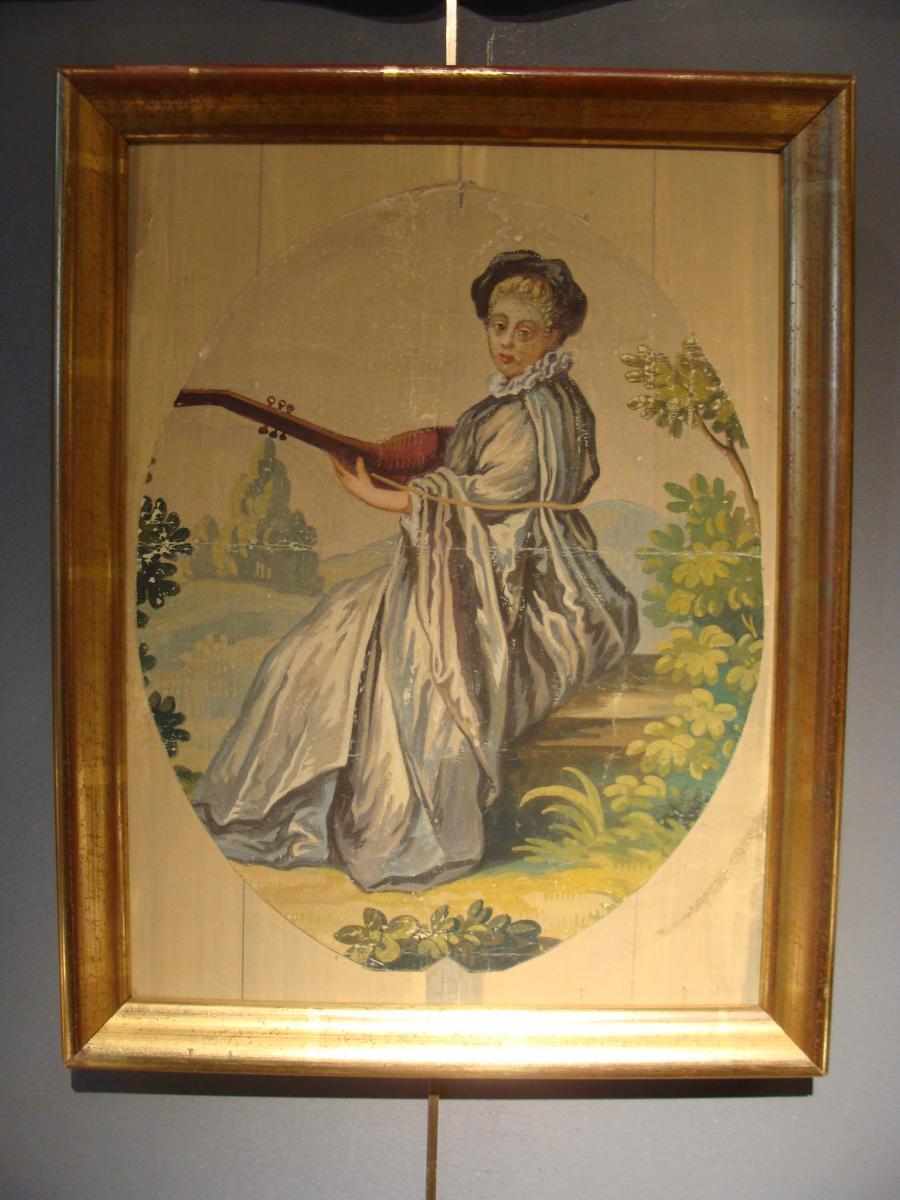 """Carton d'Aubusson """"la Musicienne"""""""