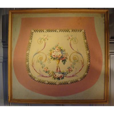 Carton De Tapisserie d'Aubusson à Décor Floral
