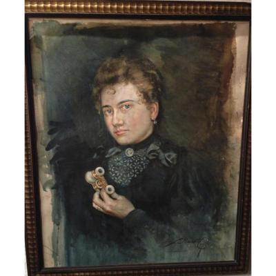 Portrait De Femme, Aquarelle Fin XIXème