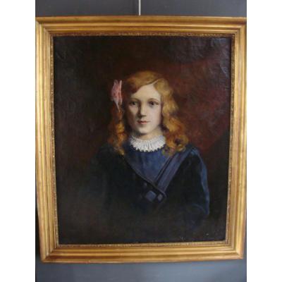 Portrait XIXème De Jeune Fille