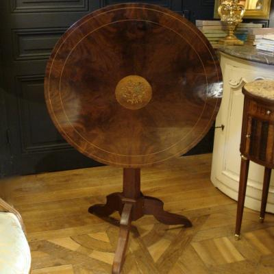 Marquetry Pedestal Table