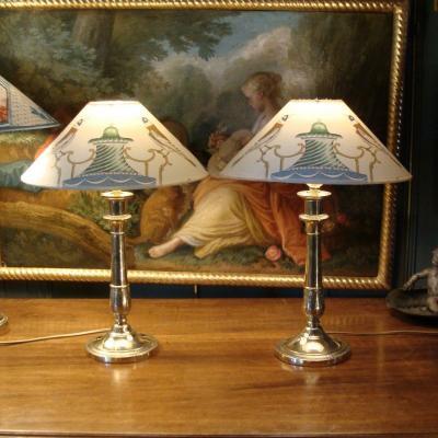 Paire De Lampes En Bronze XIXème