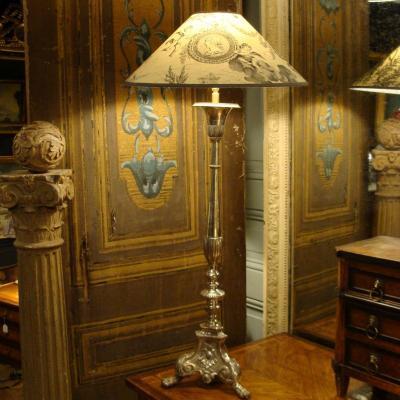 Lampe En Bronze Argenté 19ème