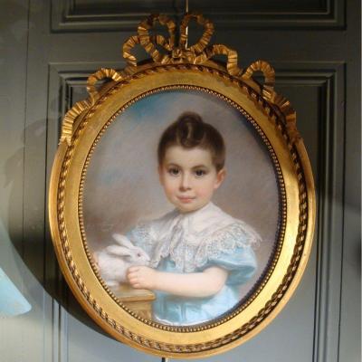 Portrait d'Un Petit Garçon Au Lapin Daté 1903