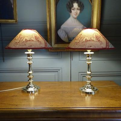 Pair Of 19th Bronze Lamps